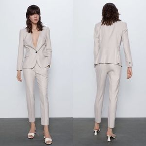 Tailored Blazer & Cigarette Pants Suit Set